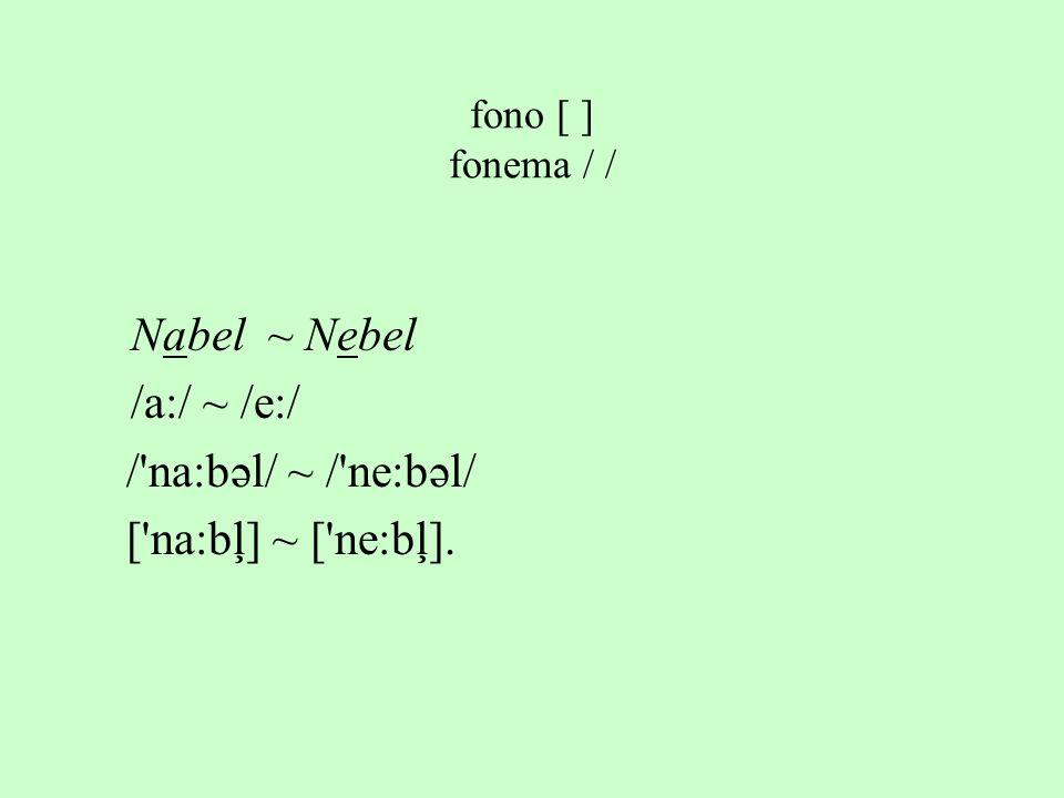 Nabel ~ Nebel /a:/ ~ /e:/ / na:bəl/ ~ / ne:bəl/ [ na:bļ] ~ [ ne:bļ].